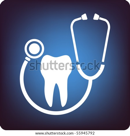 Tooth inside a loop of stethoscope on blue background - stock vector
