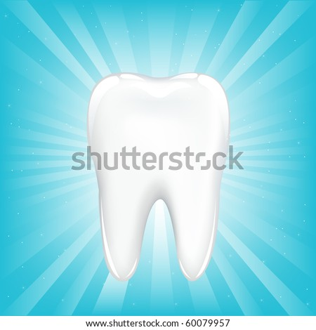 Tooth, On Blue Background With Beams And Stars, Vector Illustration - stock vector