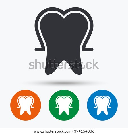 Tooth protection icon. Tooth protection flat symbol. Tooth protection art illustration. Tooth protection flat sign. Tooth protection graphic icon. Flat icons in circles. Round buttons for web. - stock vector
