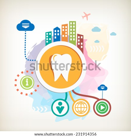 Tooth sign icon and city on abstract colorful watercolor background with different icon and elements.  - stock vector