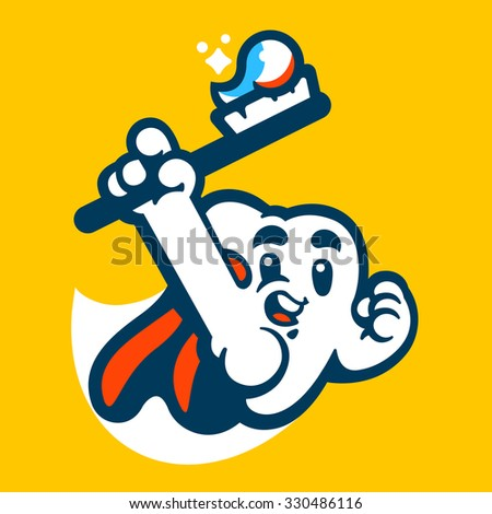 Tooth super hero mascot. Vector flat illustration. - stock vector