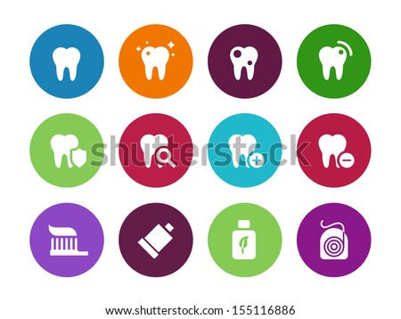 Tooth, teeth circle icons on white background. Vector illustration. - stock vector