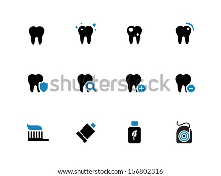 Tooth, teeth duotone icons on white background. Vector illustration. - stock vector