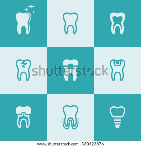 Tooth, teeth set of nine vector flat style colored icons, dental symbols - stock vector