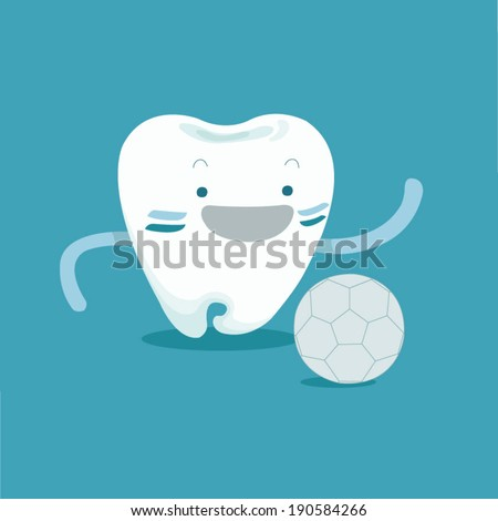 Tooth to be football player - stock vector