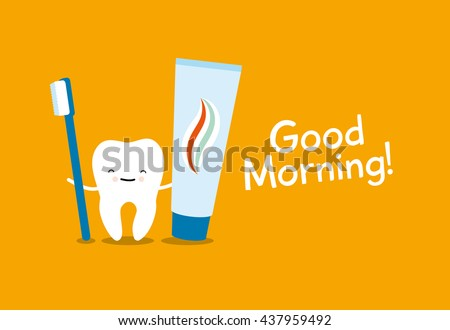 Tooth, toothbrush and toothpaste on orange background. Healthy teeth. Good morning - stock vector