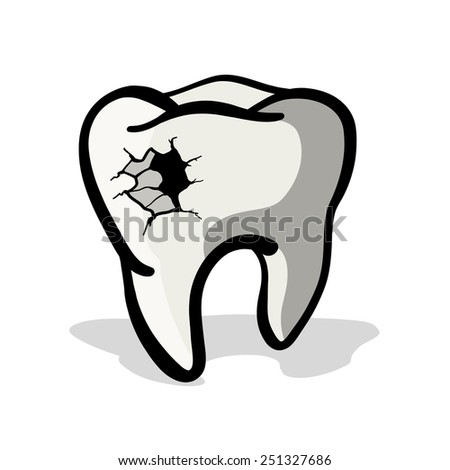Tooth with a hole. A painful tooth. A children's sketch.Color image.