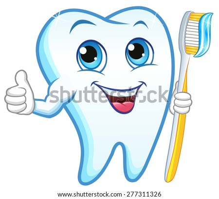 Tooth with a toothbrush, smiling