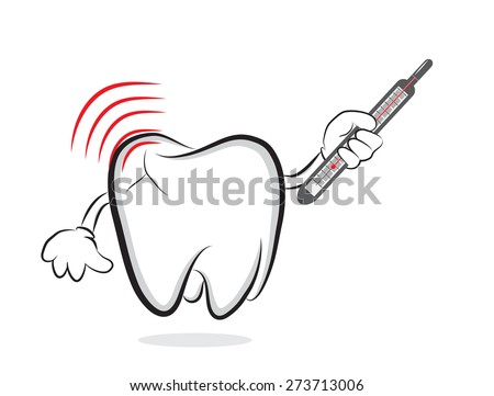 Tooth with inflammation and thermometer as concept for toothache - stock vector