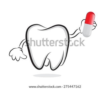 Tooth with pill as concept for oral care - stock vector
