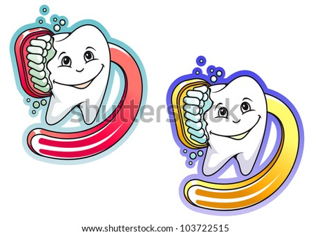 Toothbrush and paste in cartoon style for hygiene and medical design, such logo. Jpeg version also available in gallery