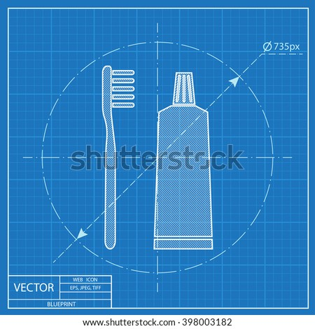 Toothbrush and toothpaste blueprint icon  - stock vector