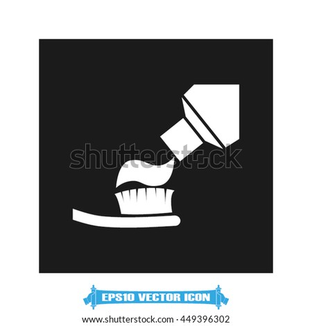 Toothbrush and toothpaste icon vector illustration EPS 10.