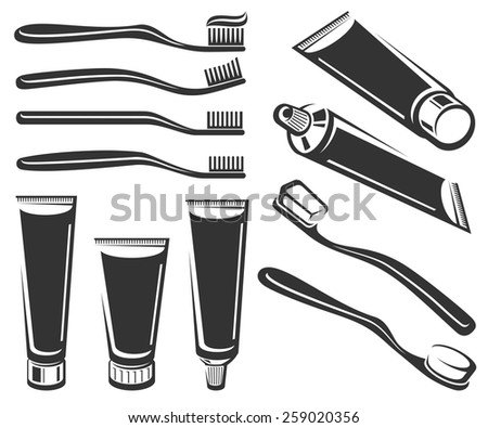 Toothbrush and toothpaste set. Vector - stock vector
