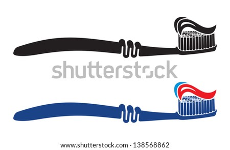 Toothbrush icons with toothpaste - stock vector