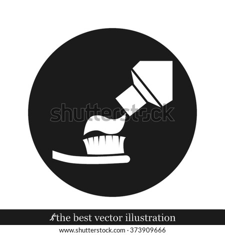 toothbrush toothpaste icon - stock vector