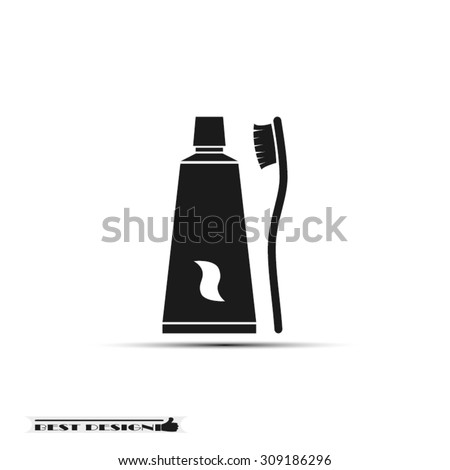 toothbrush toothpaste icon vector illustration eps10. - stock vector