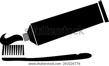 Toothbrush with toothpaste tube vector icon - stock vector