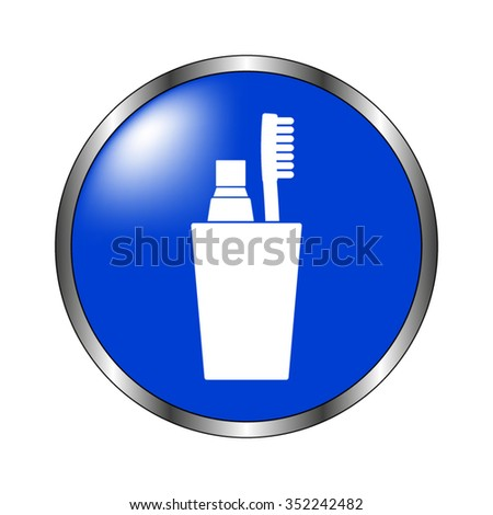 Toothbrush with toothpaste - vector icon on the blue button - stock vector