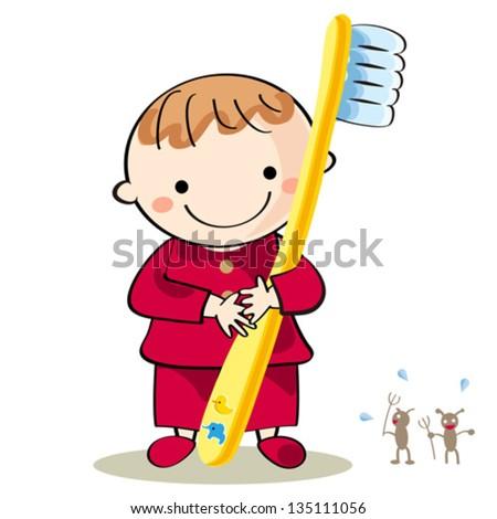 Toothbrushing   Illustration   Child - stock vector