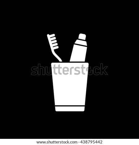 Toothpaste and Tooth Brush In Cup Flat Icon On Black Background - stock vector