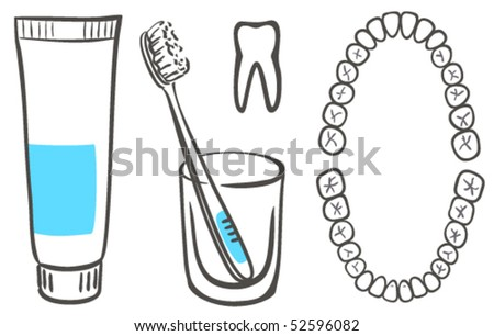 Toothpaste, brush and teeth - stock vector