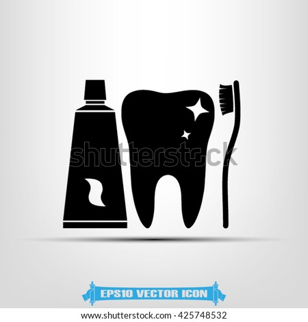 toothpaste toothbrush tooth vector illustration eps10 - stock vector