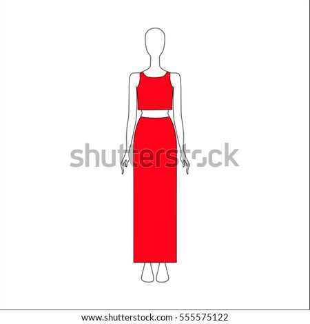 top and skirt drawn vector. women's clothing.