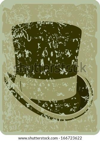 top hat-vintage background - stock vector