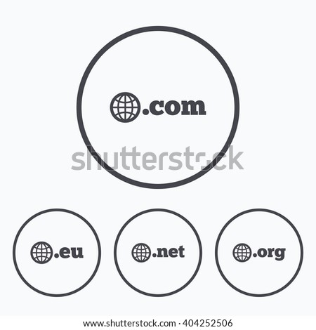 Top-level internet domain icons. Com, Eu, Net and Org symbols with globe. Unique DNS names. Icons in circles. - stock vector