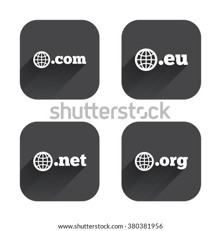 Top-level internet domain icons. Com, Eu, Net and Org symbols with globe. Unique DNS names. Square flat buttons with long shadow. - stock vector