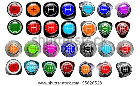 Top of the button the manual car lever of a gear change of 5 ore 6 speeds vector eps10 - stock vector