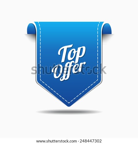 Top Offer Blue Vector Icon Design