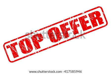 TOP OFFER red stamp text on white - stock vector