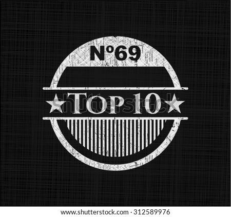 Top 10 on blackboard - stock vector