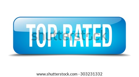 top rated blue square 3d realistic isolated web button - stock vector