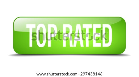 top rated green square 3d realistic isolated web button - stock vector