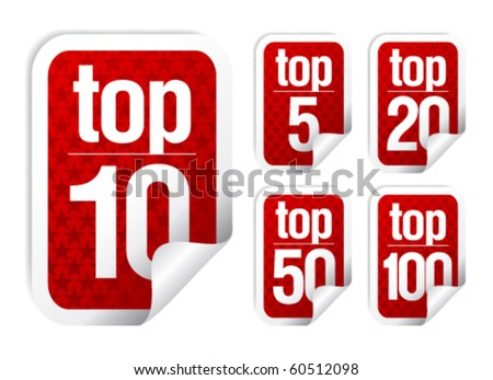Top rated stickers set - stock vector