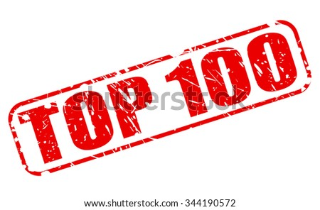 TOP 100 red stamp text on white - stock vector