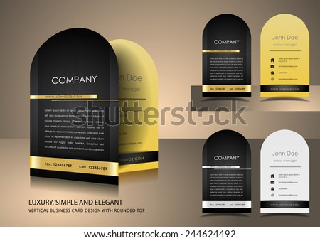 Top rounded black business card - stock vector