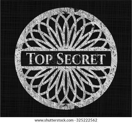 Top Secret chalk emblem written on a blackboard - stock vector