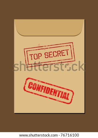 Top secret document in envelope. Rubber stamp - grungy illustration with text Confidential and Top Secret. - stock vector