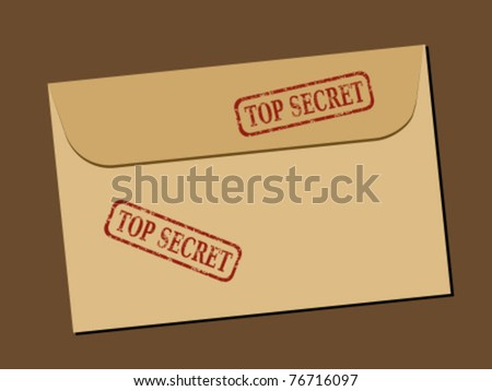 Top secret document in envelope. Rubber stamp - grungy illustration with text Top Secret. - stock vector
