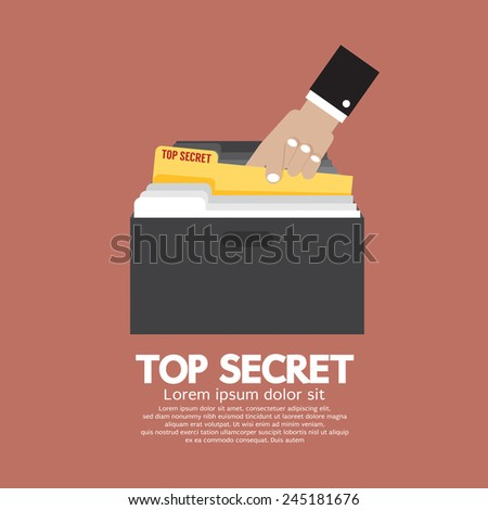 Top Secret Folder In Hand Vector Illustration - stock vector