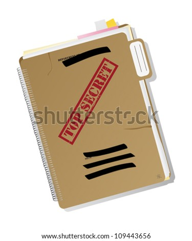 Top secret folder with files, notes and papers, isolated and grouped objects over white background, no mesh or transparencies used. - stock vector