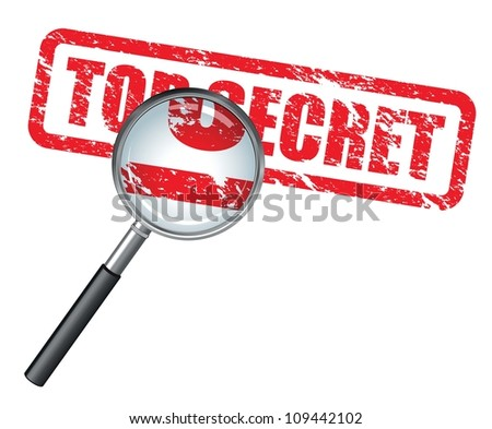 top secret magnifying glass - stock vector