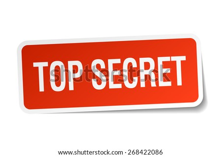 top secret red square sticker isolated on white - stock vector