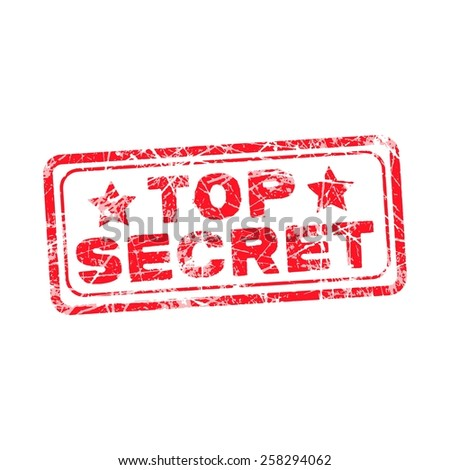 Top secret red stamp isolated on white background - stock vector
