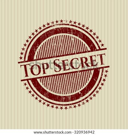 Top Secret rubber grunge seal - stock vector