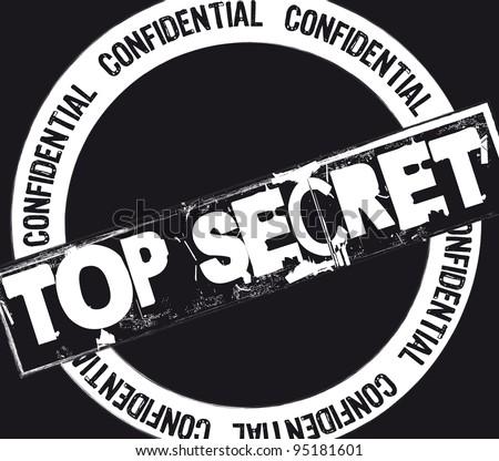 top secret stamp over black background. vector illustration - stock vector